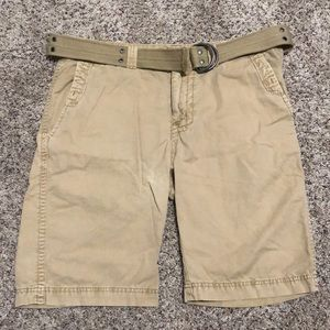 Buckle Black Mens Shorts Size 34 Khaki